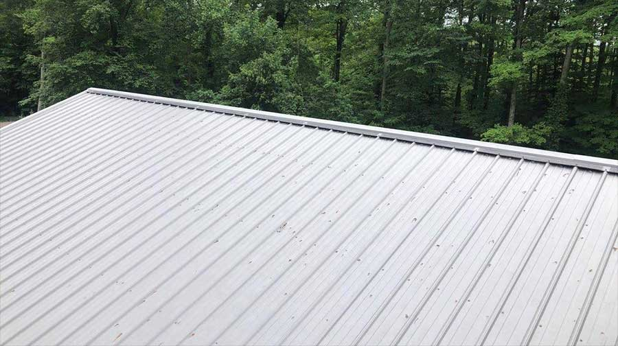 Photo Of Peak Protector On A Metal Roof - Shot at an angle from a distance