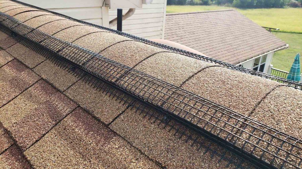 A Peak Protector closeup along a roof ridge.